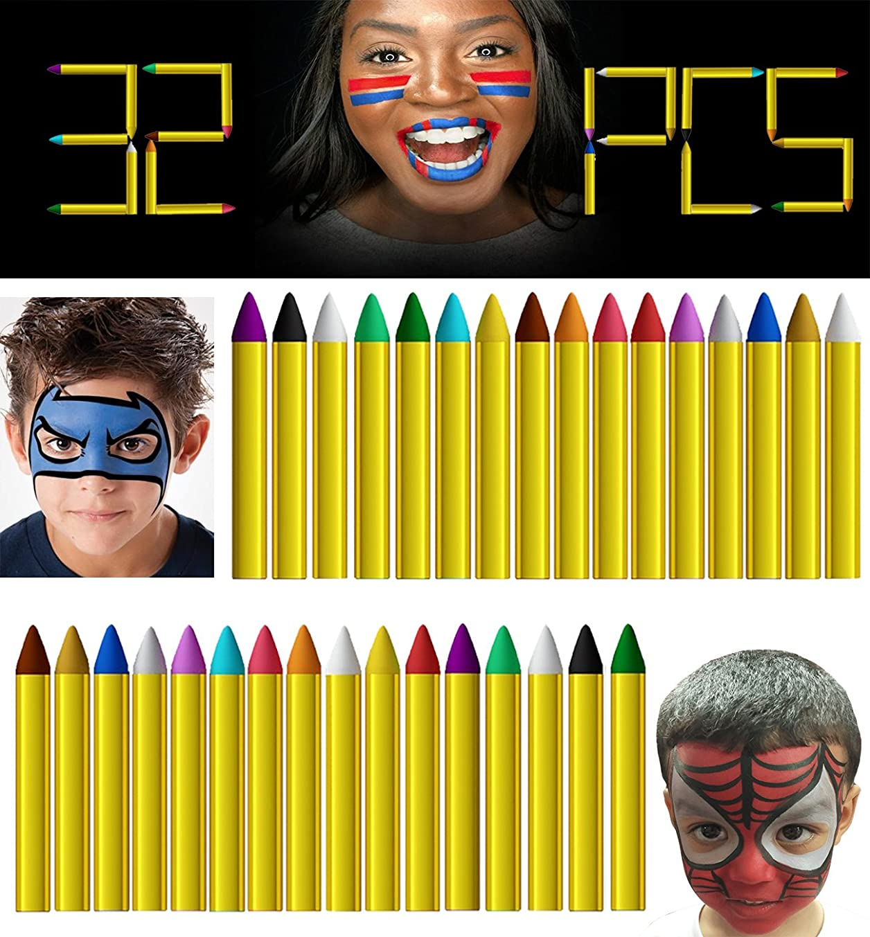 LLOP 32 Pcs 16 Colors Halloween Makeup Face Paint Safe Non-Toxic Face and Body Crayons Ultimate Party (32 Pcs)