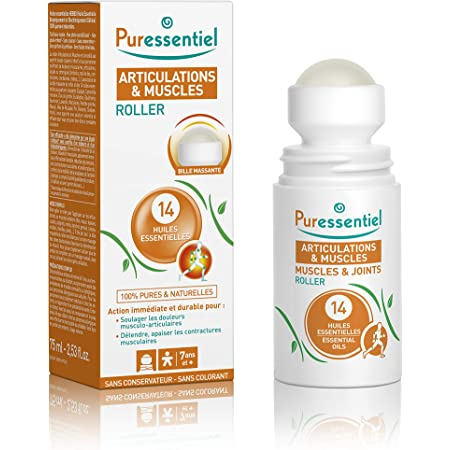 Puressentiel - Articulations et Muscles - Roller aux 14 Huiles Essentielles - Soulage les douleurs musculaires et articulaires - 75 ml