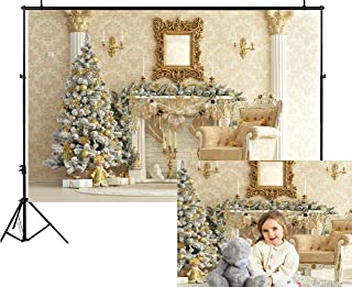 Funnytree 7x5ft Royal Gold Christmas Fireplace Backdrop Damascus Luxury House Pine Tree Chair Candles Photography Background Vintage Interior Family Portrait Photo Studio Photobooth Props