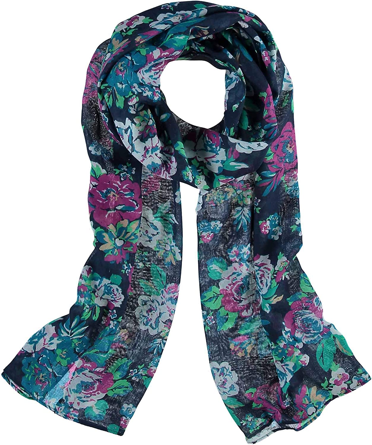 Accessories First Vintage Floral Scarf- Fashionable Womens Polyester Oversized Scarf Wrap