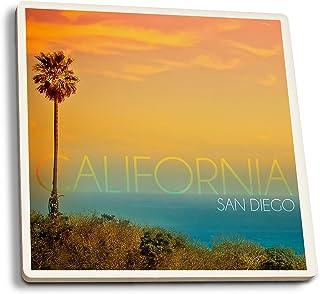 San Diego, California–sol y pájaro, cerámica, Multicolor, 4 Coaster Set