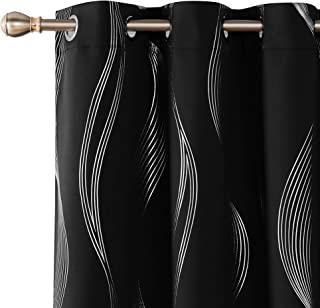 Deconovo Black Blackout Curtains Thermal Insulated Wave Striped Foil Print Room Darkening Grommet Curtains for Bedroom 2 Curtain Panels 42x45 Inch