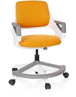 hjh OFFICE 640490 Chaise pour Enfant et Adolescent Kid Flex Tissu Orange Chaise pivotante Qui grandit avec l'Enfant, Suppo...
