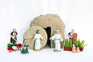 Easter Creche Resurrection Scene/Display - 7 Piece Set + Garden Accessories