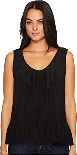 Accordian Scoop Neck Flounce Tank Top