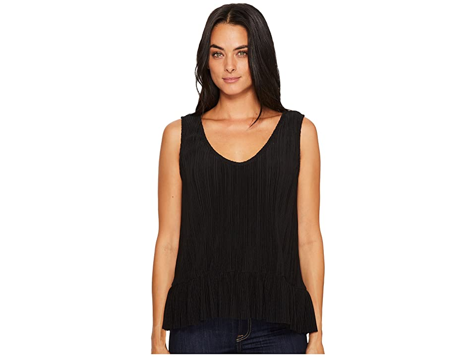 Michael Stars Accordion Scoop Neck Flounce Tank Top (Black) Women's Clothing