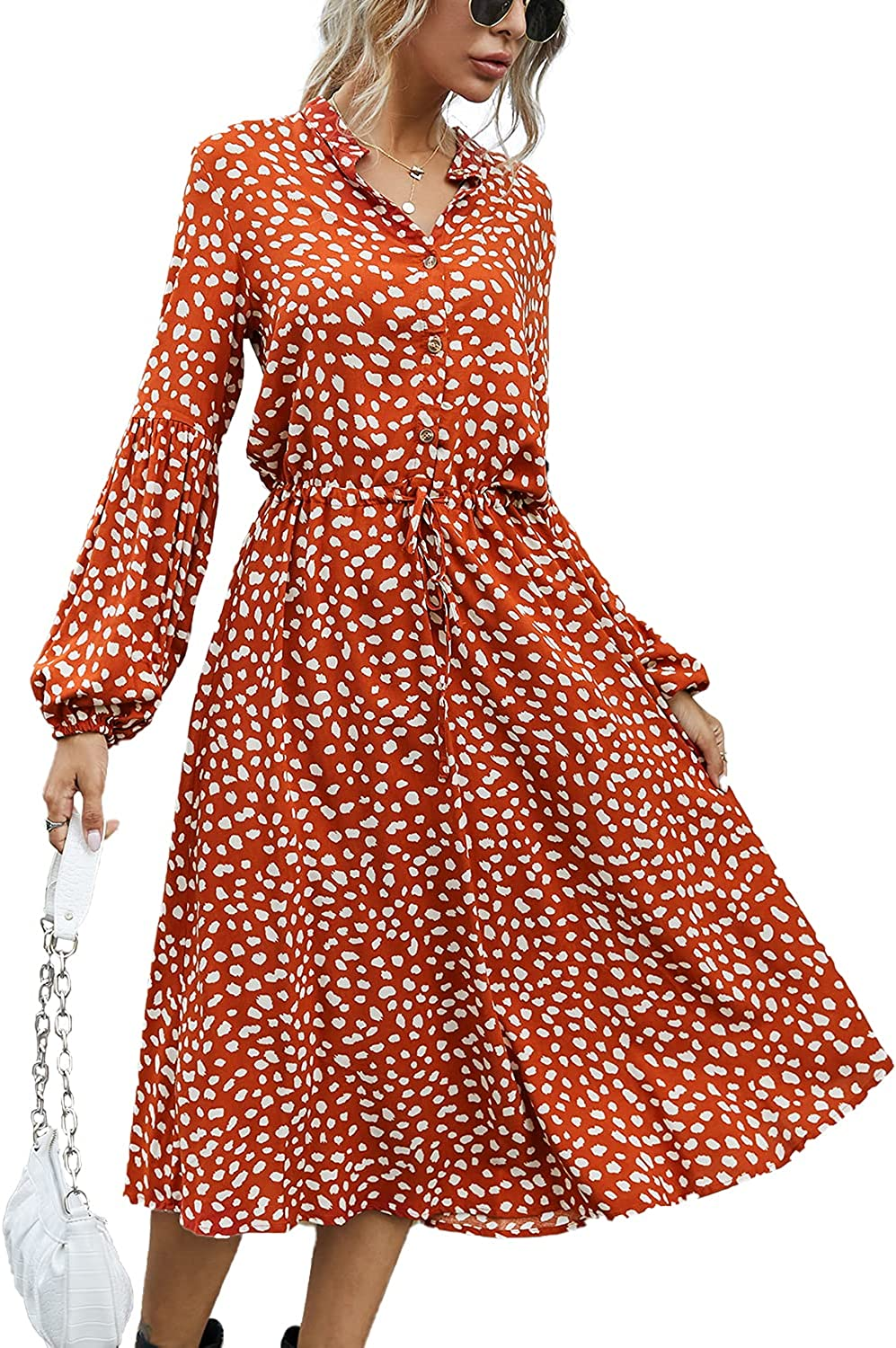 BROVAVE Women's Casual Polka Dot Print Clearance SALE! Limited time! Vintage Short Coll Gorgeous Sleeve