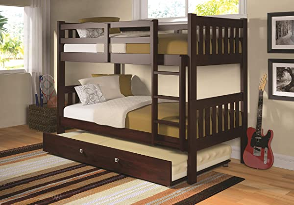 Donco Kids 1010 3TTCP 503 CP Mission Bunk Bed WithTrundle Twin Twin Dark Cappuccino