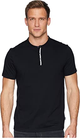 Short Sleeve Flat Knit Trimmed Jersey Henley
