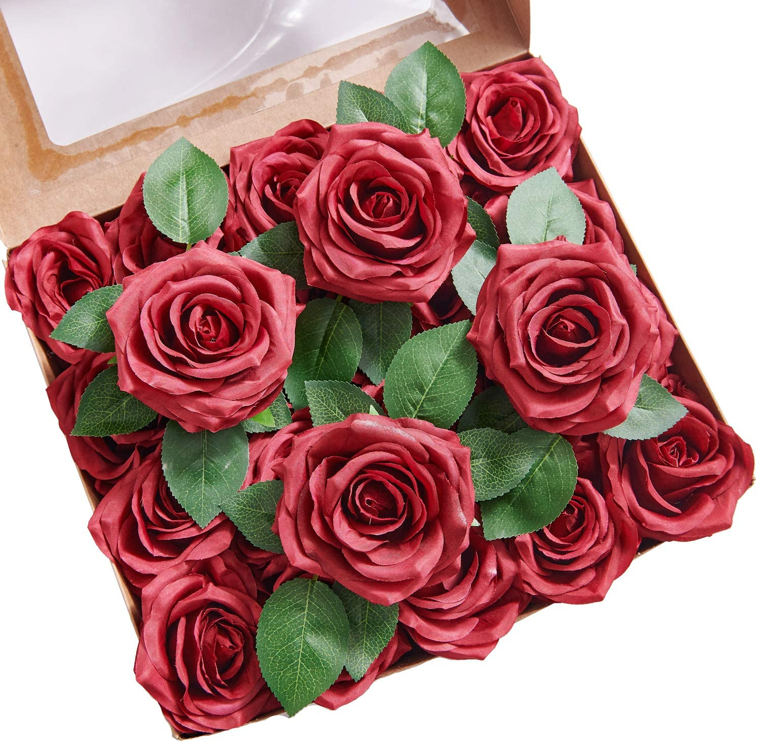 YUZZ Burgundy Silk Roses Tulsa Mall Popular product Artificial Heads with Fake