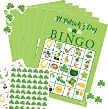 St Patricks Day Bingo Games for Kids, 24 Players - Includes 24 Bingo Cards, 420 Shamrock Marker Chips, and 24 Calling Card Pieces - Saint Pattys Day Irish Game for Class Party Activity