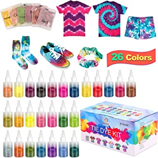 Johgee Teinture Texile, Tie Dye Kit 26 Couleurs, Teinture Tissus non Toxique, Peinture pour Textile, 150 Élastiques, 10 Ta...