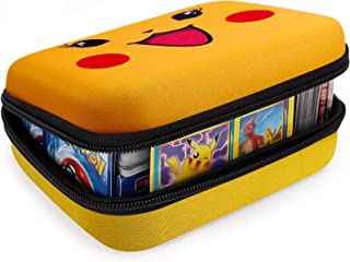 Cards Holder Compatible for PM TCG Card Game, Fits Up Fits up to 400 Cards. Case with 2 Removable Divider(Yellow)