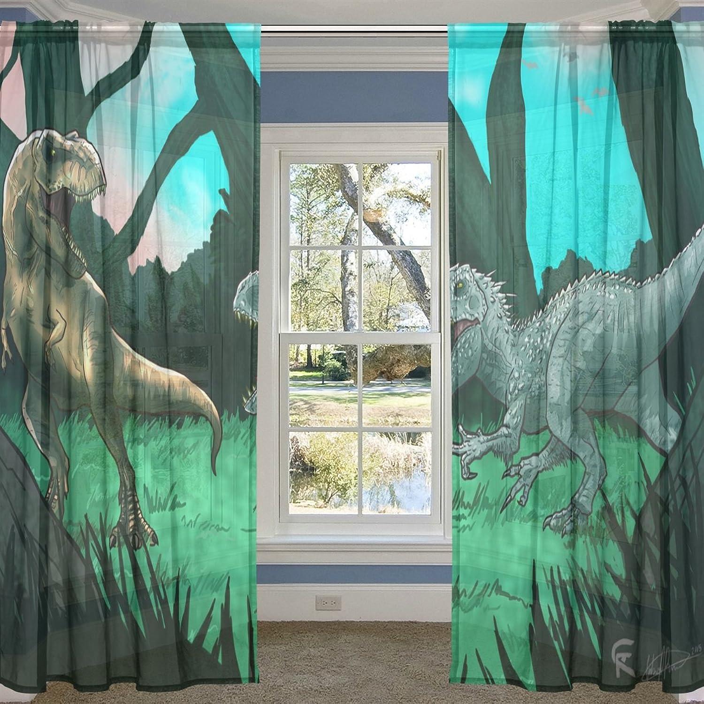COOSUN COOSUN COOSUN Antike Dinosaurier Sheer Vorhang Panels Tüll Polyester Voile Fenster Behandlung Panel Vorhänge Für Schlafzimmer Wohnzimmer Wohnkultur, 55x84 Zoll, 2 Panels Set B075XG8VNX 5ead19