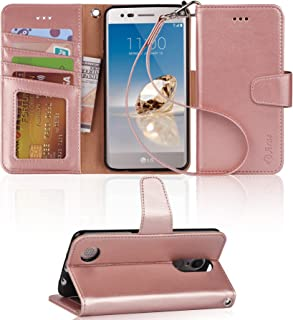 LG Aristo Case, LG Phoenix 3 Case, LG K8 2017 Case, LG Fortune Case, LG Risio 2 Case, LG Rebel 2 LTE Case, Arae Wallet Case with Kickstand and Flip Cover - Rosegold