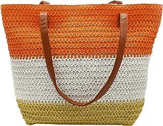 We We Large Straw Beach Bag Duffel Bags Waterproof Canvas Tote Hand Bag for Women Girls