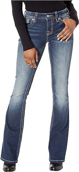 Embellished Border Trim Bootcut Jeans in Dark Blue