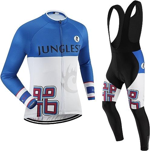 JNL Maillot de Cyclisme Homme Manches Longues Jersey(S5XL,Option Cuissard,3D Coussin) N137