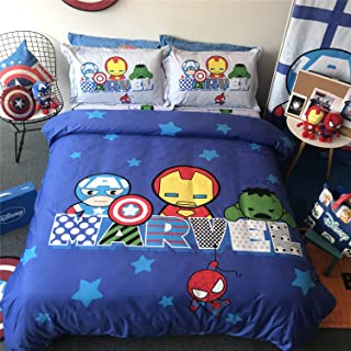Cenarious Marvel Captain America Avengers Doll Blue Boys Cartoon Style Duvet Cover Set Cotton Flat Sheet Bed Cover - 4Pcs Bedding Set - Queen Flat Sheet Set - 86