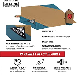 Grand Trunk Parasheet Beach Blanket or Picnic Blanket with Patented Sand Anchor Pockets, Stake Loops, and Attached Stuff Sack | Best Beach Blanket for Outdoors