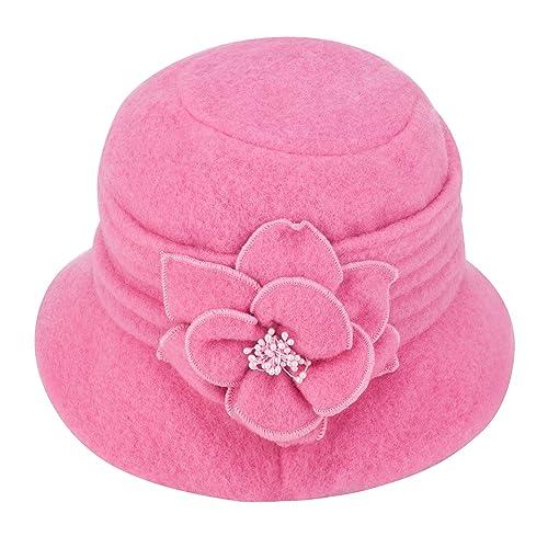 d722950d200 Womens Gatsby 1920s Winter Wool Cap Beret Beanie Cloche Bucket Hat A299
