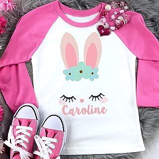 Easter Shirt Girls Personalized Shirt Bunny Girl Pink Raglan Shirt Gift for Girl