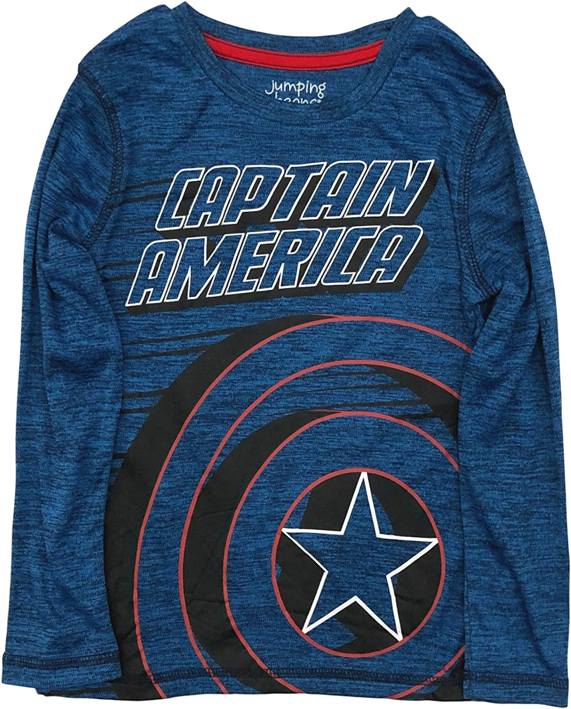 Jumping Beans Active Boys Long Blue Captain America T-Shirt Silky Tee Shirt