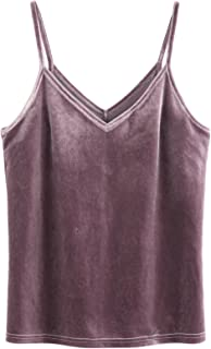 Women's Casual Basic Strappy Velvet V Neck Cami Tank Top