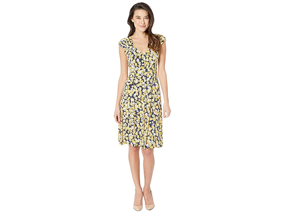 91355daf762d9 London Times Printed Matte Jersey Scatter Petal Dress (Navy Gold) Women