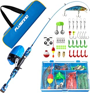 PLUSINNO Kids Fishing Pole with Spincast Reel Telescopic Fishing Rod Combo Full Kits for Boys, Girls, and Adults