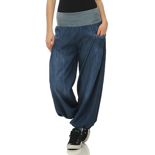 Malito Mujer Pantalones Bombacho Mezclilla Pantalones Anchos Talla Única  6258 244b606a28e0