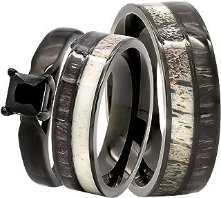 3 pc His and Hers Black Koa Wood Rings Set - Deer Antler Rings - Wooden Rings - Wedding Rings - Wooden Wedding Rings - Wood Ring - Wedding Ring - His and Hers Rings