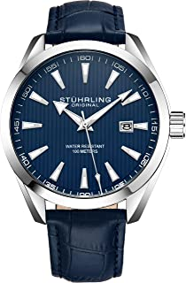 Stuhrling Original Mens Watch Analog Dial with Date - Calfskin Leather Strap or Stainless Steel Bracelet, 3953 Watches for Men Collection