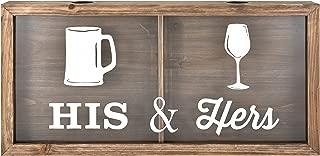 MCS Bar None His & Hers Wine Cork & Beer Cap Wall Art, 20