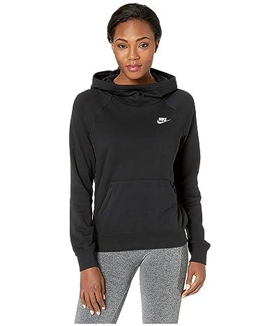 Nike NSW Essential Funnel Pullover Fleece (Black/White) Women