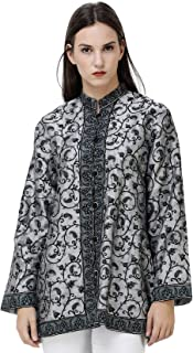 Exotic India Jacket from Srinagar with Hand-Embroidered Florals and Paisleys