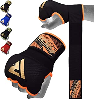 RDX Boxing Hand Wraps Inner Gloves for Punching - Elasticated Padded Bandages Under Mitts - Quick Long Wrist Support, Fist Protector - Great for MMA, Muay Thai, Kickboxing & Martial Arts Training