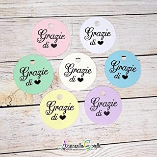 Cartellini, vari colori, tondi Stampati per bomboniera, 3x3 centimetri, etichette, nascita, battesimo, cresima, comunione,...