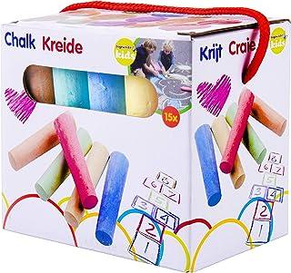 Eddy Toys - Craies de Trottoir/Craies de Rue Multicolores - 15 Pièces - 10, 5 x 2, cm