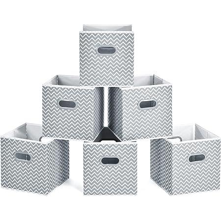 MaidMAX Boîtes de Rangement Ouvertes, Cubes de Rangement en Tissu, Pliable Organisateurs conteneurs, Boîtes Tiroirs avec Poignée en Plastique, 26,6 x 26,6 x 27,9 cm