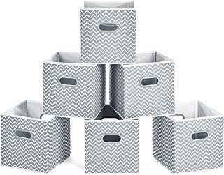 comprar comparacion MaidMAX Cubos de Almacenaje, Cajas Plegables de Tela con Doble Mango de Plástico, para Casa, Oficina, Zigzag Gris/Blanco, ...