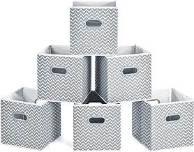 MaidMAX Cubos de Almacenaje, Cajas Plegables de Tela con Doble Mango de Plástico, para Casa, Oficina, Zigzag Gris/Blanco, 6 pcs, 26,6 x 26,6 x 27,9 cm
