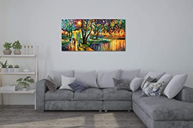 V-inspire Art,24x48 Inch Modern Impressionism Hand-Painted Landscape Oil Paintings Romanticism Green Wall Art Acrylic Canvas