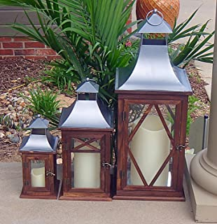 Pebble Lane Living Indoor/Outdoor Candle Lanterns, Wood with Matte Silver Metal Top Accents & Tempered Glass Panes, Assorted Set of 3