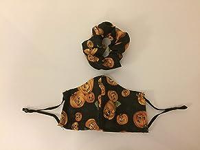 Face Mask Adjustable 2+ Layer Pocket Rounded Halloween Jack-o-Lantern Plus Scrunchie Set