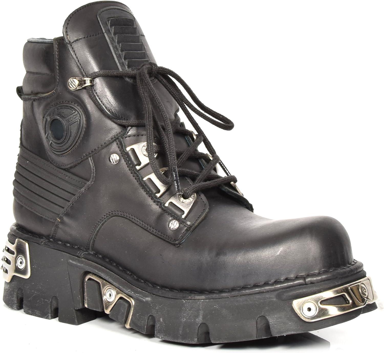 """""""svart läder Ankle stövlar ny Rock Rock Rock Retro Design Lace up Metallic Platform skor A1924S1 """"  upp till 70%"""