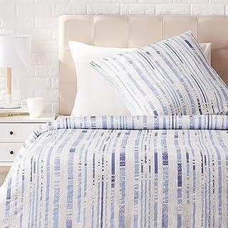 Amazon Basics - Juego de ropa de cama con funda de edredón, de satén, 140 x 200 cm / 65 x 65 cm x 1, Azul a rayas texturizado