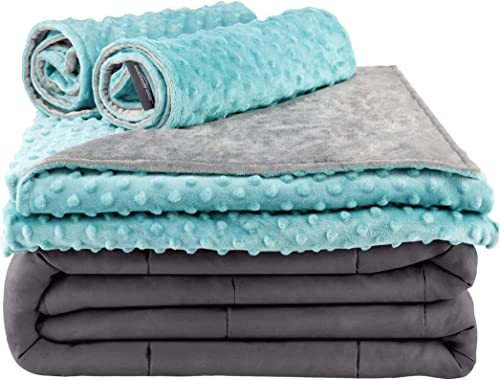 popular Secura new arrival Everyday Luxury Premium Adult discount Weighted Blanket & Removable Green Minky Cover & 2 Pillowcases (15 lbs 60 x 80 Queen Size, 100% Cotton Material with Glass Beads) online