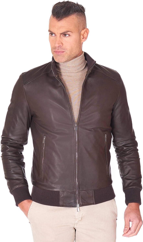 Brown natural lamb leather bomber jacket vintage aspect