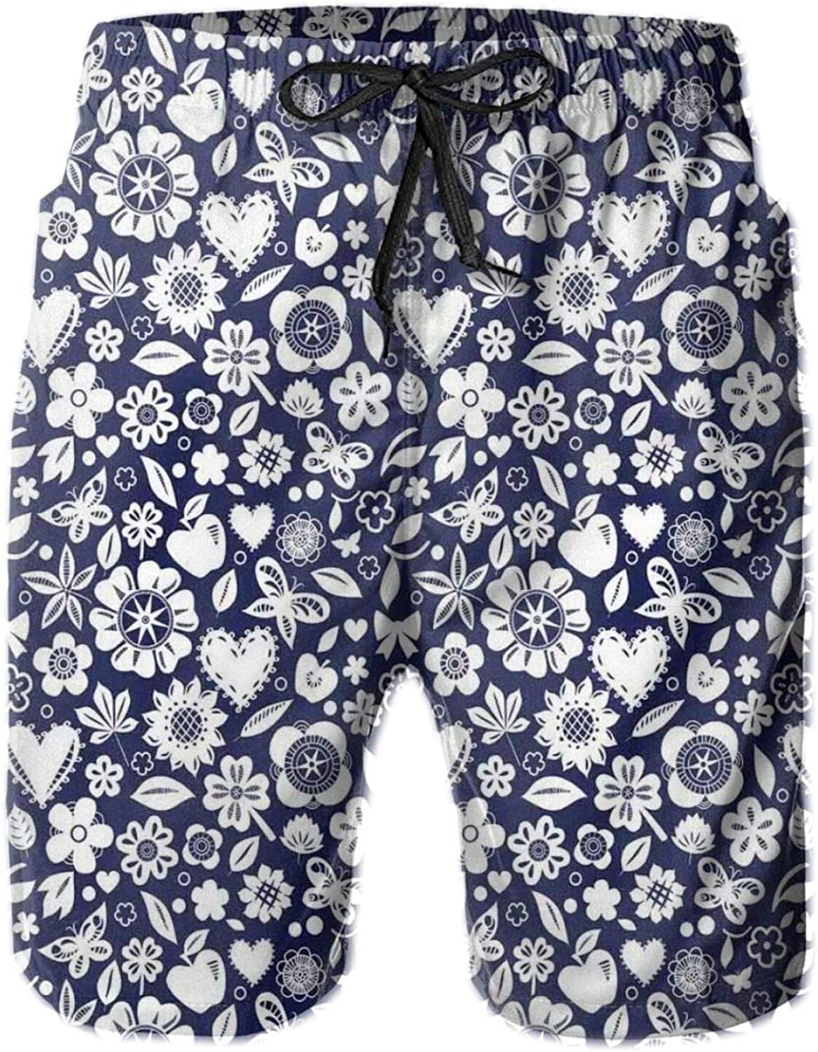 Multi Designed Pattern with Hearts Butterflies Leafs and Dots Image Mens Swim Trucks Shorts with Mesh Lining,XL